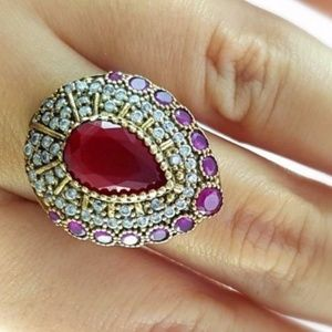 .925 stamped Handmade turkish Ruby Ring Size 8